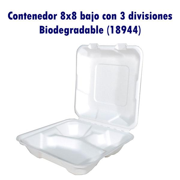 Contenedor 8x8 bajo con 3 divisiones Biodegradable (18944)