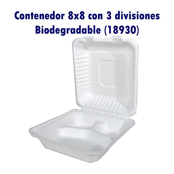 Contenedor 8x8 con 3 divisiones Biodegradable (18930)