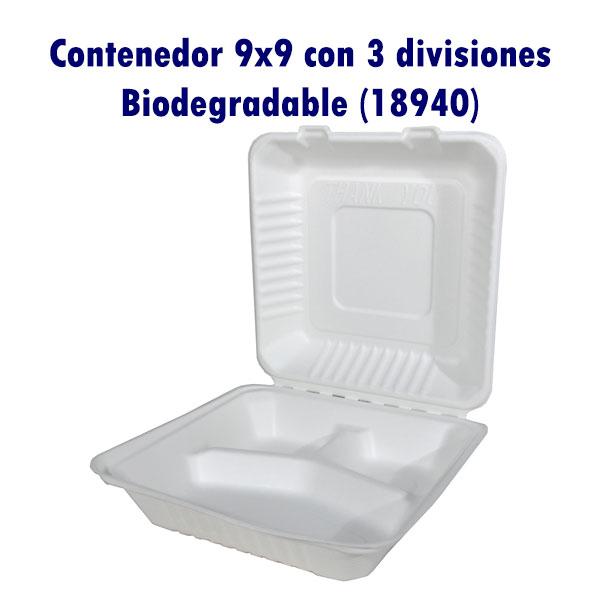 Contenedor 9x9 con 3 divisiones Biodegradable (18940)