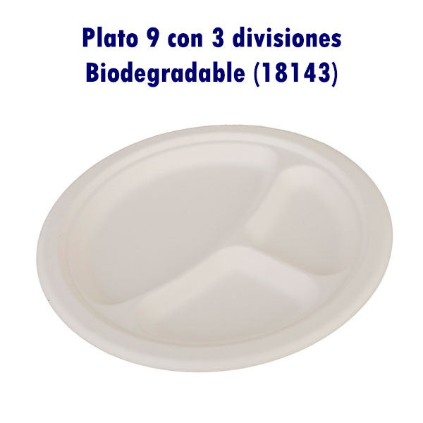 Plato 9 con 3 divisiones Biodegradable (18143)